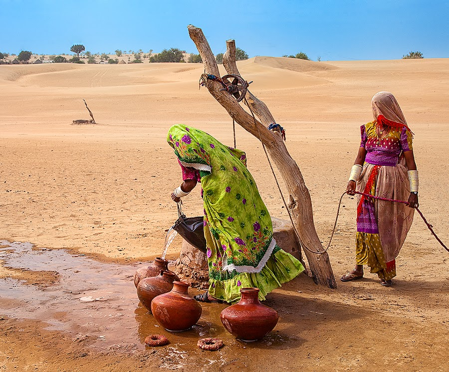 Water Carriers by Nayyer Reza - People Street & Candids ( water, pakistan, thar, color, pitchers, well, nayyer, women, reza, dessert )