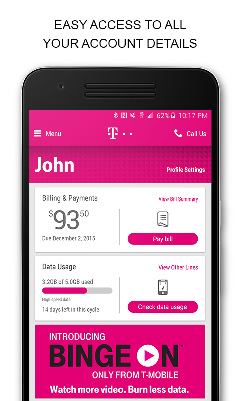Screenshots of T-Mobile for iPhone