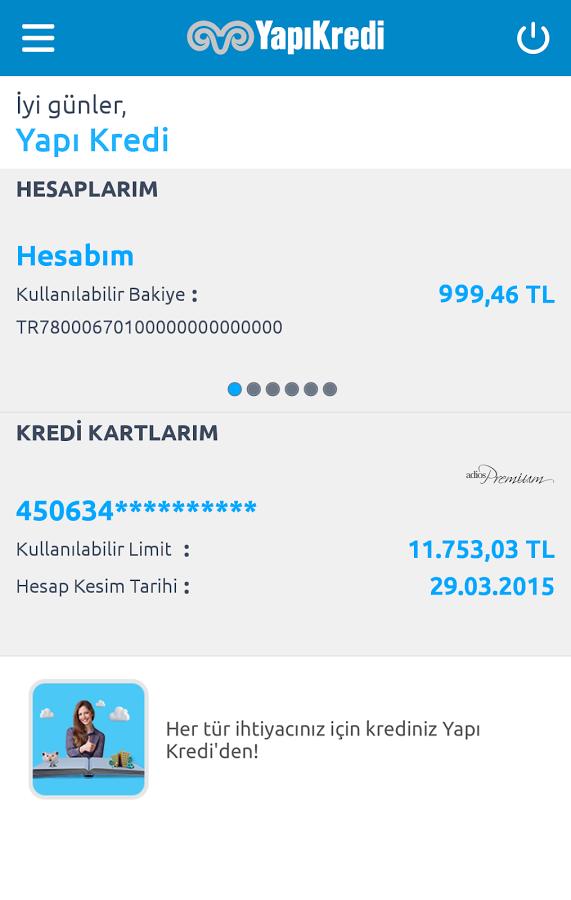 Yapı Kredi Mobil Bankacılık- screenshot