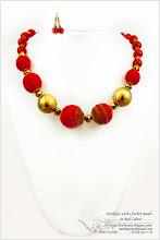 Photo: Necklace with Crochet Beads in Red Colour - Намисто з плетених намистин в червоних тонах