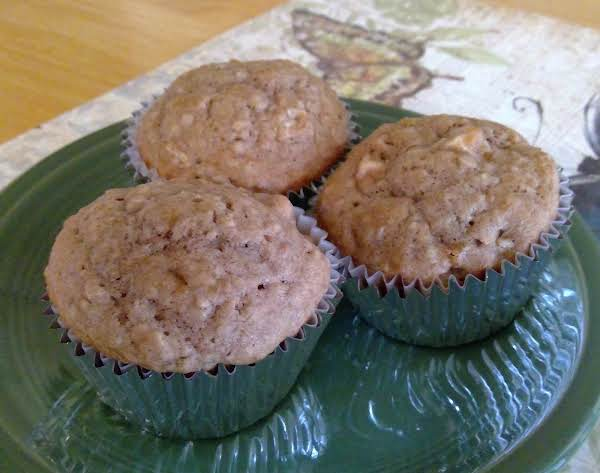 Apple Spice Oatmeal Muffins On A Plate.