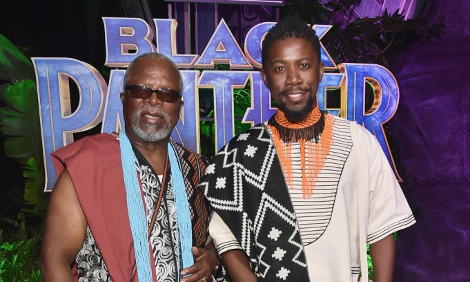 Actors John Kani (L) and Atandwa Kani at the world premiere of Marvel Studios' 'Black Panther' on January 29 2018 in Hollywood, California.