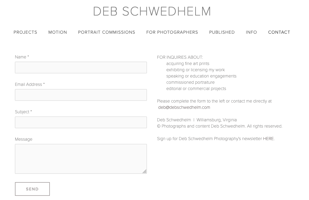Screenshot of photography website design for Deb Schwedhelm