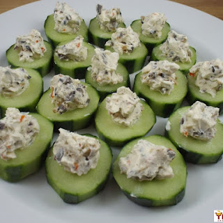Olive and Cream Cheese Cucumber Bites.