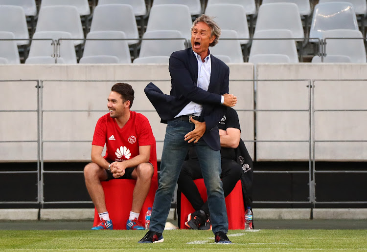 Ajax Cape Town head coach Muhsin Ertugral reacts in frustration during the Absa Premiership match against Mamelodi Sundowns at Cape Town Stadium, Cape Town on 9 January 2018.