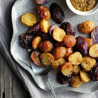 Salt + Vinegar Roasted Potatoes with Turmeric Honey Mustard
