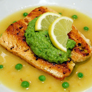 Sauteed Salmon in Lemon Brodetto with Pea Puree