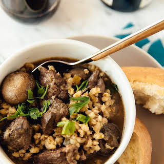 Slow-Cooker Beef and Barley Stew with Mushrooms.