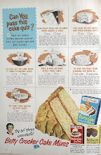 "Photo: The first Betty Crocker cake mix was introduced in 1947. It was the gingerbread mix, and was to be baked in a 9"" square pan. Next the Party Cake, which came in white, yellow and spice and was to be baked in a 9""x13"" pan. This  pan was the newest thing and very popular."