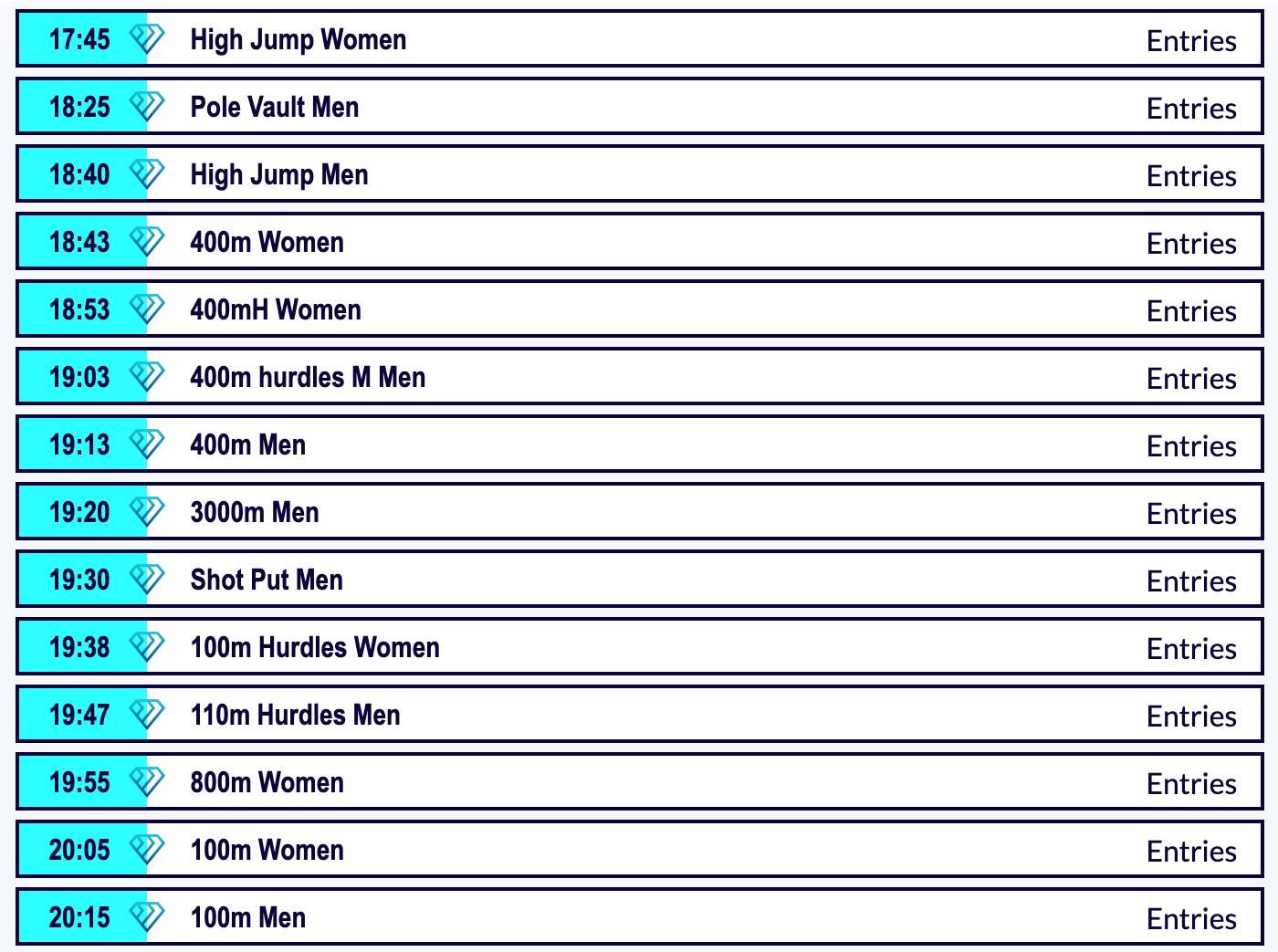 The rome diamond league timetable