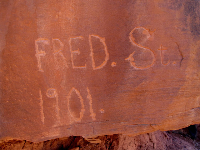 Fred St. 1901 inscription made with some sort of six-sided chisel or drill bit