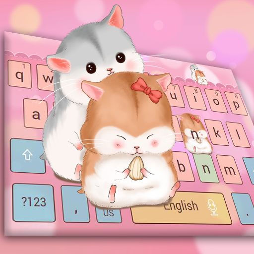 Pink cute hamster keyboard