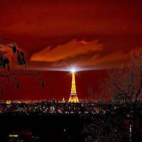 Eiffel Tower By Night by Dimitri Foucault - Travel Locations Landmarks ( exposure, paris, tower, pwclandmarks, red, eiffel, night, landscape, long, light, panorama, city )