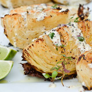 Paleo Roasted Cabbage with Mustard Seed Dressing.