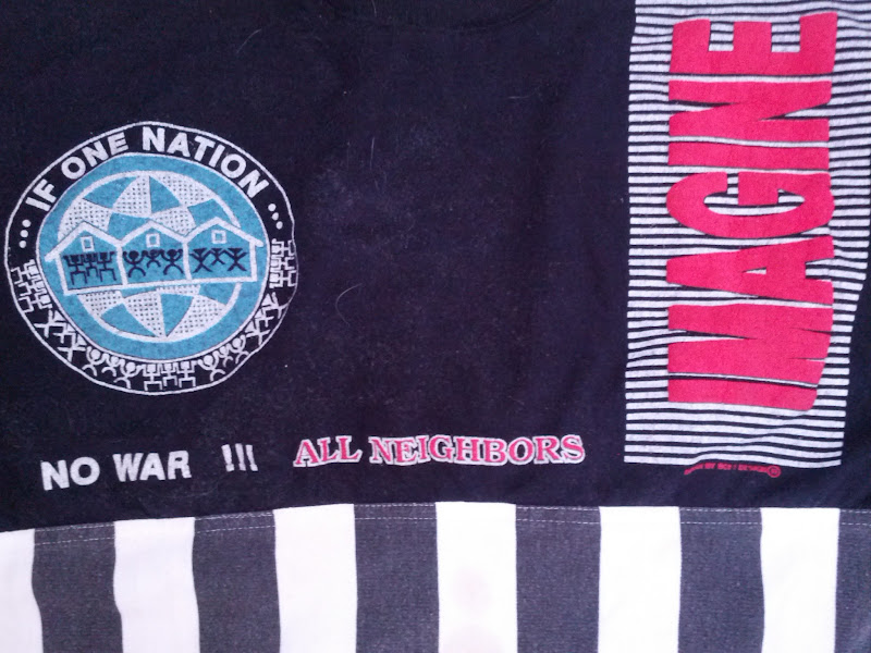"""Photo: When I lived on Valencia Street from 1989 to 1992, there was a shop that had these shirts that seemed to be made by someone only somewhat familiar with English. This was their anti-war shirt, in this case, the 1991 Iraq war. """"Imagine"""" was a reference to the John Lennon song, which was some sort of meme around the war."""