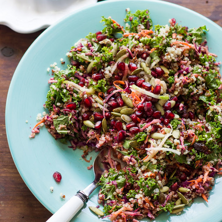 Healthy Kale + Quinoa Salad with Ginger-Curry Vinaigrette Recipe