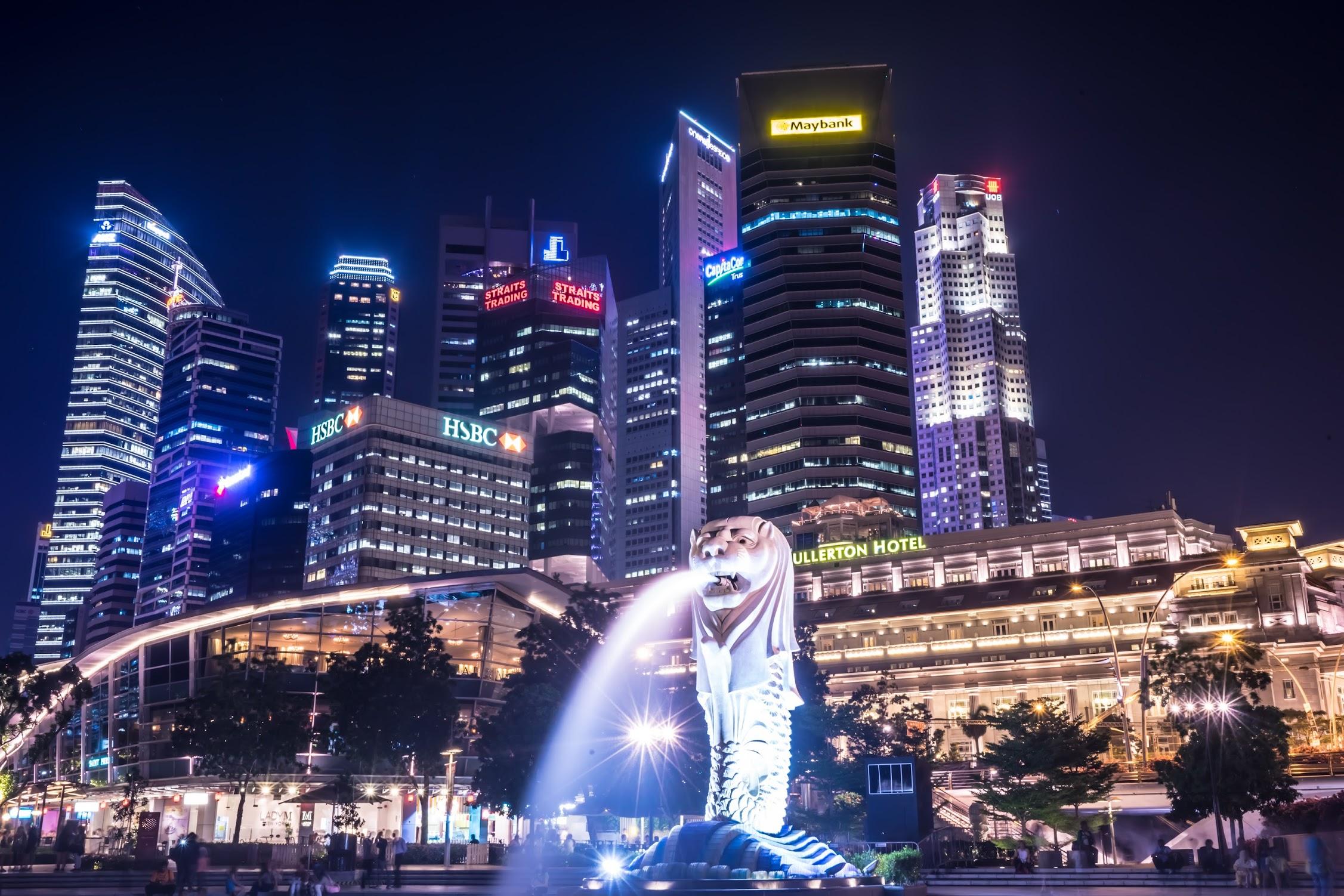 シンガポール マーライオン 夜景2