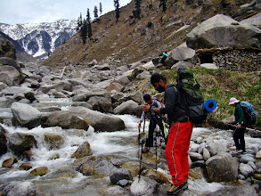 Photo: Crossing river khauli