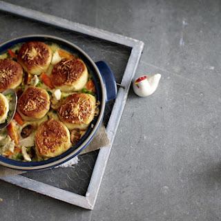 Creamy Chicken Casserole with Bread Rolls.