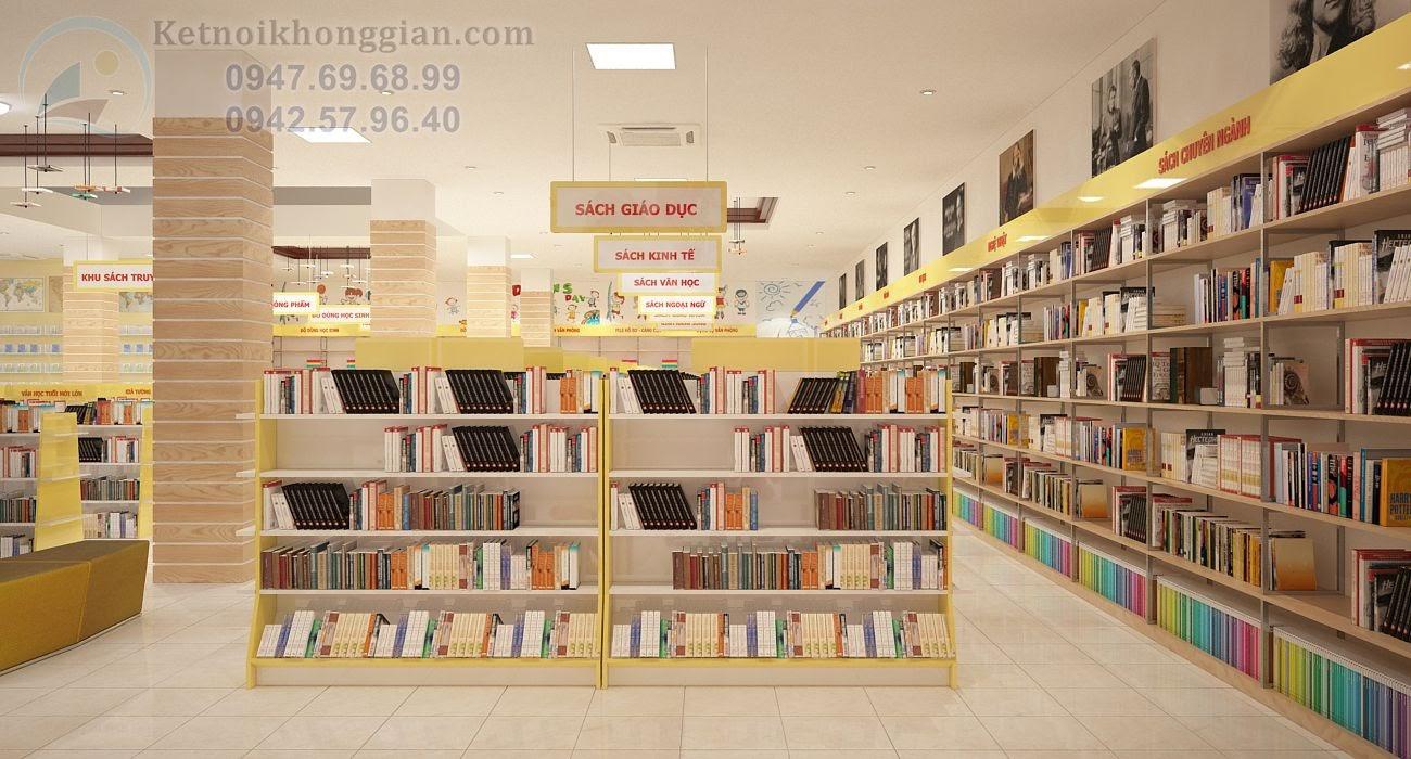 thiết kế nội thất nhà sách hài hòa với không gian