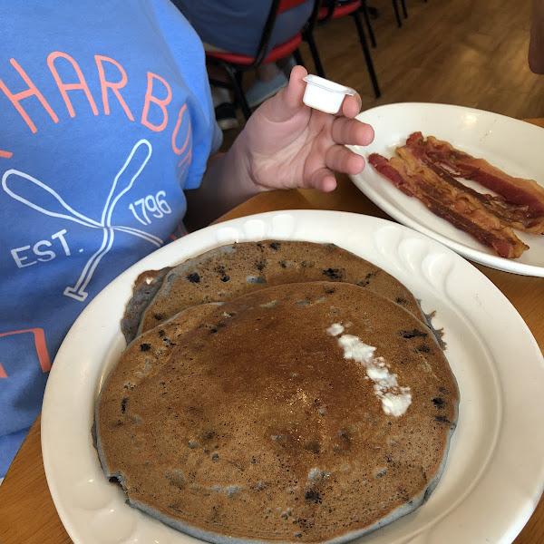 Gluten free blueberry pancakes.