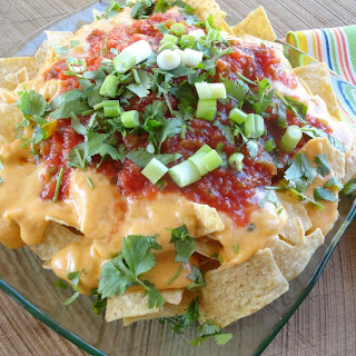 Ultimate Nachos with Homemade Cheese Sauce.