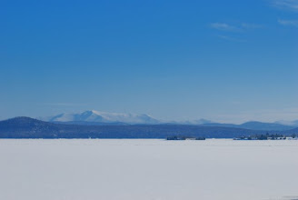 Photo: Frozen Lake Champlain at Grand Isle State Park by Linda Carlsen-Sperry.