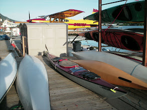 Photo: My kayak on the dock in Ketchikan among those owned by Southeast Sea Kayaks.