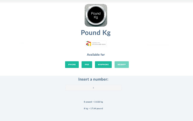 Pound Kg - Chrome Web Store