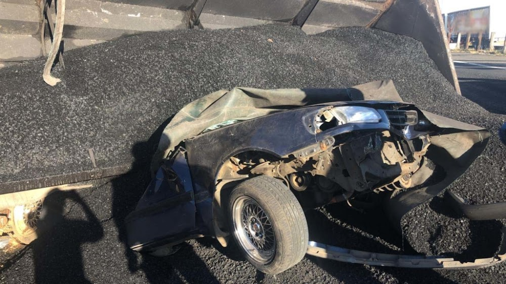 IN PICTURES | Miraculous escape as truck load crushes car in Gauteng - SowetanLIVE