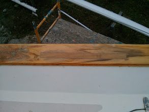 Photo: port, aft caprail repair after sanding down the excess wood and epoxy.