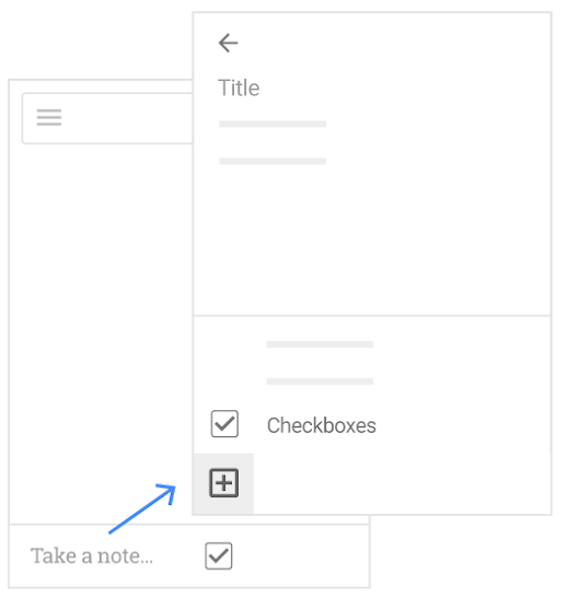 Take a note, title it, and show checkboxes