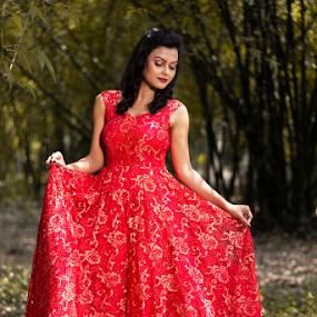 Beauty in the forest by Rajib Chatterjee - People Portraits of Women