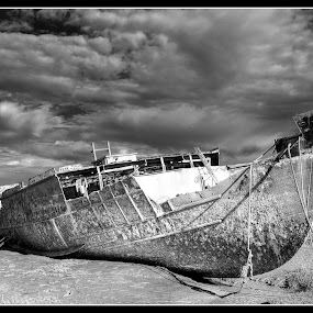 Fleetwood ship wreck by Peter Hearn - Landscapes Waterscapes ( wreck fleetwood b&w boat old )