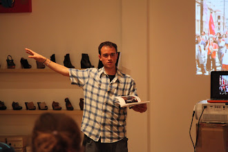 Photo: Joe talking about how several of the photos of the book are about Occupy Oakland and Oakland's First Friday Art Murmur, which happened a few blocks from SoleSpace.