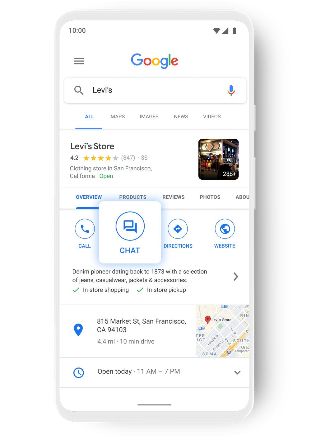 Customers chat with Levi's through Google Search