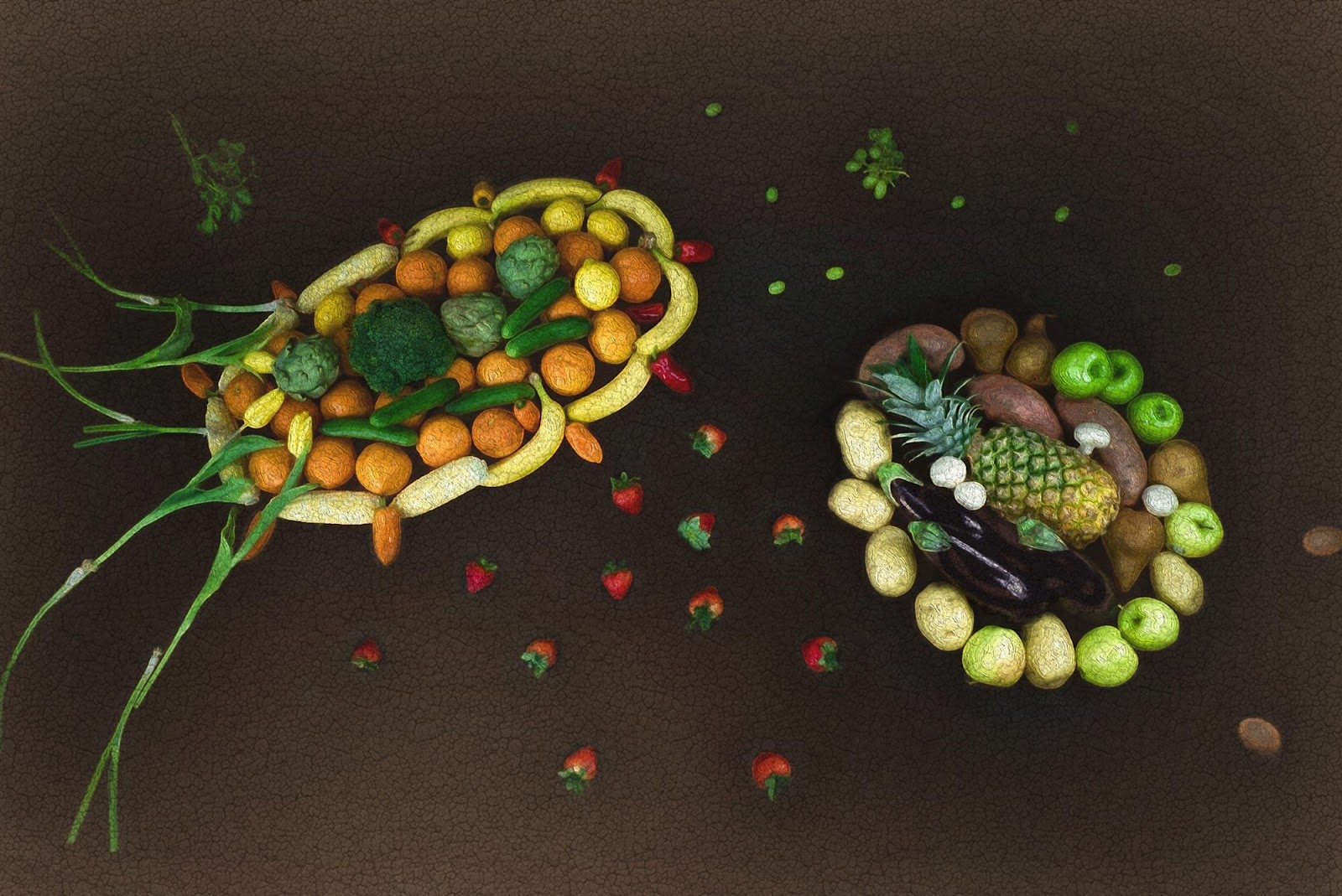 A photo of food shaped to look like microbes