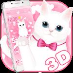 Pink kitty 3d live wallpaper theme