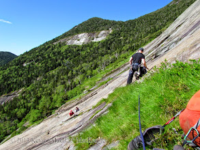 Photo: The traverse from the Rainbow route to our variation. Mike getting ready to belay Greg.