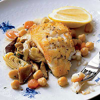 Cod with Artichokes and Chickpeas.