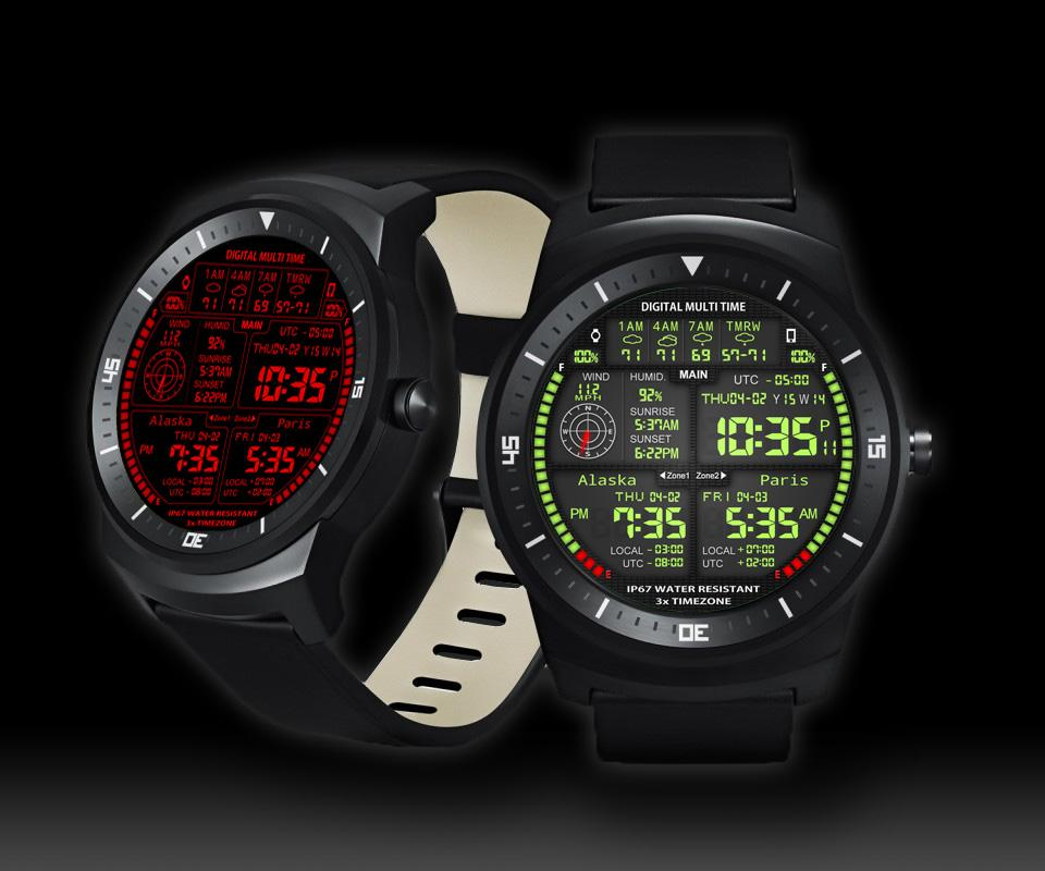 F08 3 x World Clock Watch Face- screenshot