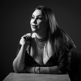 Roosa by Simo Järvinen - Black & White Portraits & People ( studio, woman, person, lady, indoor, roosa, model, female, portrait )