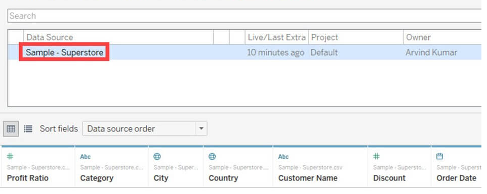 Tableau Data Connection with Data Sources