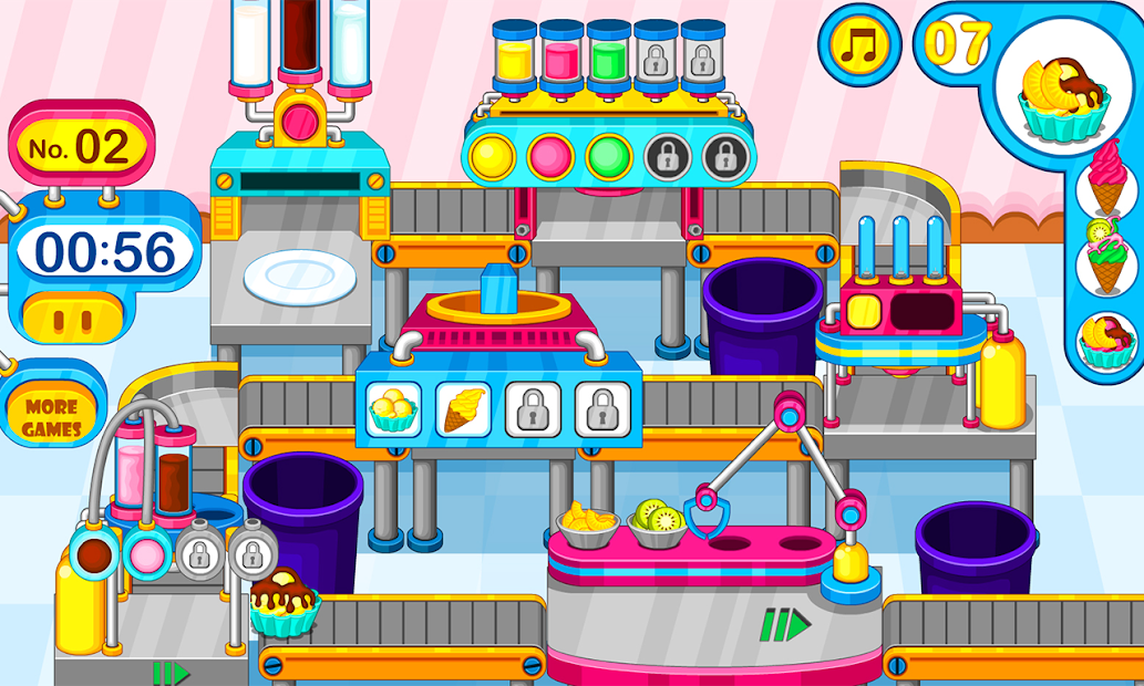 Cooking colorful ice cream Android App Screenshot