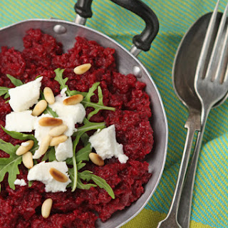 Beetroot Risotto With Goat's Cheese And Pine Nuts.