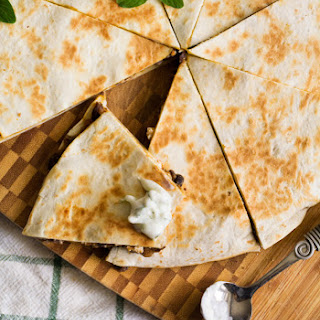 Greek Quesadillas with Lemony Tzatziki