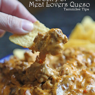 Meat Lovers Crock Pot Queso Dip.