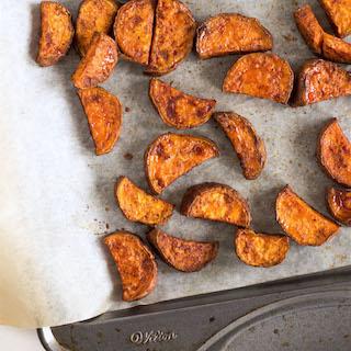 Maple Cinnamon Roasted Sweet Potatoes.