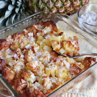 Pineapple Coconut Sweet Bread Pudding.