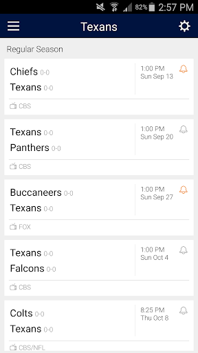 Football Schedule for Texans